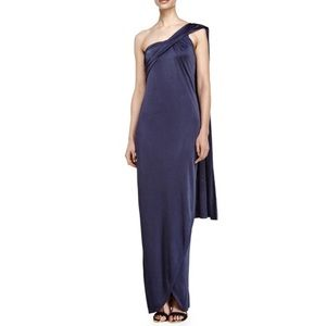 HALSTON  Heritage one shoulder wrap gown